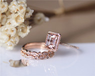 3PCS ring set! 7x9mm Emerald Cut 14K Rose Gold Natural VS Morganite Ring Set Engagement Ring Set