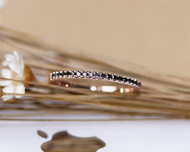 Solid 14K Rose Gold Black Diamond Band Wedding Band Promise Band Stackable Matching Band
