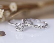 1.2ct 7mm Forever Brilliant Charles & Colvard Moissanite Engagement Ring Set Solid 14K White Gold