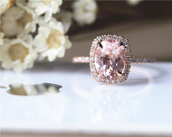 7x9mm Oval Morganite Ring Solid 14K Rose Gold Morganite Ring Stackable Wedding Ring