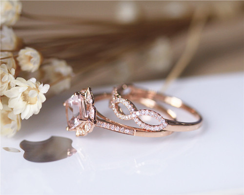 ... Morganite Ring Set Wedding Ring Set. Image 1