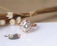 Forever Classic Vintage 7mm Cushion Moissanite Engagement Ring Solid 14K Rose Gold