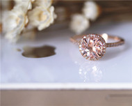 Pink Round 7mm halo VS Morganite Ring Diamonds Ring Stackable Wedding Ring Solid 14K Rose Gold