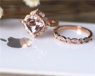 Gift Cushion Morganite Ring Set Solid 14K Rose Gold 8mm Morganite Engagement Ring Set