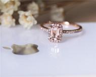 Elegant Wedding Ring  Emerald Cut 4x6mm halo VS Morganite Ring  Diamonds Ring Solid 14K Rose Gold