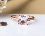 8mm cushion Morganite Ring Solid 14K Rose Gold Morganite Engagement Ring Wedding Ring
