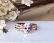 Pink Morganite Ring 7x9mm Solid 14K Rose Gold Oval Morganite Engagement Ring