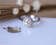 Perfect Style! 1ct Round Charles and Colvard Forever Classic Moissanite Ring Solid 14K White gold Ring