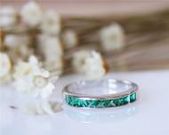 Birthstone Emerald Wedding Band Birthday Gift Solid 14K White Gold Gemstone Engagement Band