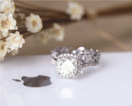 Cushion 2ct CC Forever Classic Moissanite Engagement Ring Set Solid 14K White Gold Ring Set