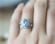 March Birthstone! 3PCS Nnatural Aquamarine Ring Set Solid 14K White Gold Ring Set Engagement Ring Set