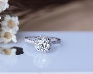 6.5mm Round Brilliant Moissanite Ring Solid 14K White Gold Wedding Ring Moissanite Engagement Ring