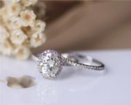 7x9mm 2.1ct Charles & Colvard Oval Forever Classic Moissanite Ring Set Wedding Ring Set Solid 14K White Gold