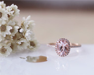 Oval Pink Morganite Ring Solid 14K Rose Gold Morganite Ring Stackable Wedding Ring Bridal Ring