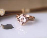 7mm Vintage Cushion Morganite Ring Set Solid 14K Rose Gold Morganite Engagement Ring Set