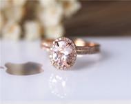 Oval Pink Morgannite Ring Set VS Morganite Ring Diamonds Ring Set Wedding Ring Solid 14K Rose Gold