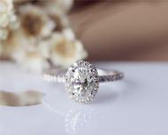 1ct Oval Forever Classic Moissanite Engagement Ring Solid 14K White Gold Moissanite Ring Wedding Ring