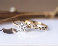 7mm Forever Brilliant Charles & Colvard Moissanite Engagement Ring Set Solid 14K Yellow Gold Ring Set