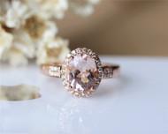 Pink Morganite Ring 7x9mm Solid 14K Rose Gold Oval Morganite Ring Engagement Ring