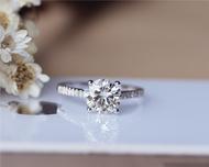 7.5 mm Round Forever Classic Moissanite Engagement Ring Solid 14K White Gold Moissanite Ring