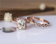 Charles & Colvard Forever Classic Moissanite Engagement Ring Set Solid 14K Rose Gold Wedding Ring Set