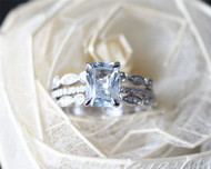6x8mm Aquamarine Ring Set Solid 14K White Gold Aquamarine Engagement Ring Set Bridal Set