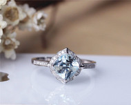 7mm Cushion Aquamarine Ring Solid 14K White Gold Aquamarine Engagement Ring