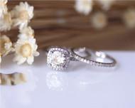 1ct Round Moissanite Engagement Ring Set Solid 14K White Gold Ring Set Wedding Ring Set