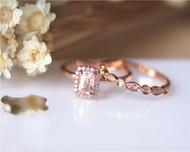 Natural Morganite Engagement Ring Set Solid 14K Rose Gold Ring Set Diamond Ring Set