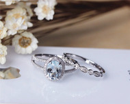 Oval Aquamarine Ring Set Solid 14K White Gold Aquamarine Engagement Ring Set Wedding Ring Set