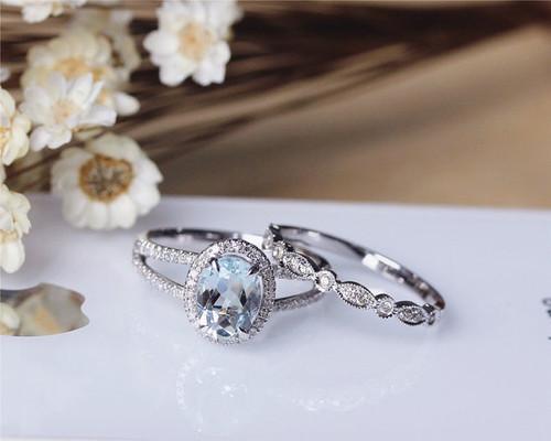 ... Aquamarine Engagement Ring Set Wedding Ring Set. Image 1