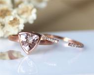 Solid Plain 14K Rose Gold 8mm Trillion Cut Morganite Ring Set Morganite Engagement Ring Set