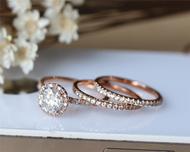 3 Ring Set Solid 14K Rose Gold Wedding Ring Set Anniversary Ring Set 1ct Moissanite Engagement Ring