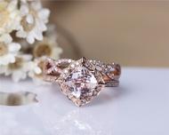 Cushion Morganite Engagement Ring Set Solid 14K Rose Gold  Morganite Ring Set