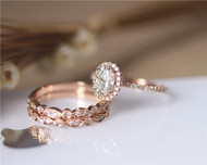 1ct CC Moissanite 3PCS Ring Set Engagement Ring Set Solid 14K Rose Gold Ring Set
