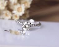 7mm Charles & Colvard Moissanite Engagement Ring Solid 14K White Gold Moissanite Ring