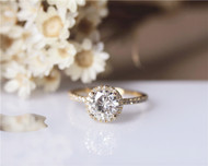 6.5mm Round Moissanite Ring Solid 14K Yellow Gold Wedding Ring Moissanite Engagement Ring