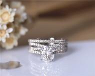 3 Rings Set! Charles & Colvard 6x8mm Oval Moissanite Engagement Ring Set Solid 14K White Gold