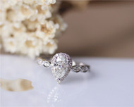 1ct Charles & Colvard Pear Forever Brilliant Moissanite Engagement Ring Solid 14K White Gold