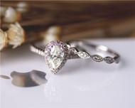 Engagement Ring Set 5x8mm Moissanite Ring Set Solid 14K White Gold Wedding Ring Set