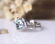 2 Pieces Set Vintage Cushion Aquamarine Ring Set Solid 14K Rose Gold Engagement Ring Set