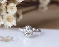 Charles & Colvard 6x8mm Oval Moissanite Engagement Ring Solid 14K White Gold Moissanite Ring