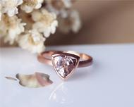 Solid Plain 14K Rose Gold 8mm Trillion Cut Morganite Ring Morganite Engagement Ring Wedding Ring