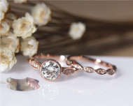 1ct Round Moissanite Engagement Ring Set Solid 14K Rose Gold Ring Set Wedding Ring Set