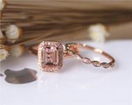 6x8mm Emerald Cut VS Pink Morganite Ring Set Wedding Ring Set Solid 14K Rose Gold Ring Set