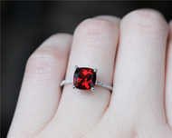 8mm Cushion Garnet Ring Solid 14K White Gold Wedding Ring Engagement Ring Anniversary Ring