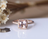 6.5mm Princess Cut Morganite Engagement Ring Solid 14K Rose gold Wedding Ring Anniversary Ring