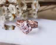 Cushion Morganite Ring Set Solid 14K Rose Gold Morganite Engagement Ring Set