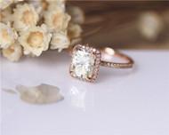 6x8mm Radiant Cut Forever Classic Moissanite Engagement Ring Solid 14K Rose Gold Moissanite Ring