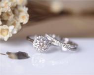 1ctw Round Moissanite Engagement Ring Set Solid 14K White Gold Ring Set Wedding Ring Set